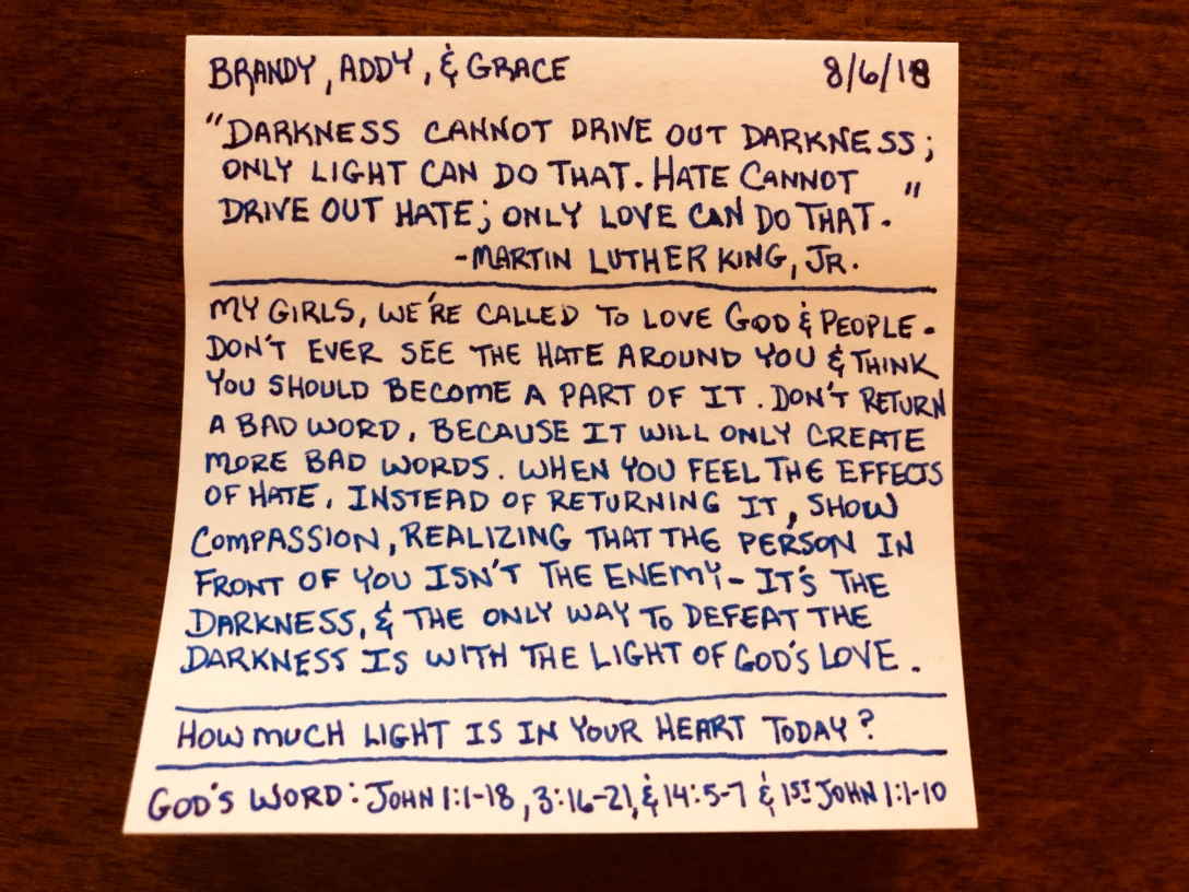 Darkness Cannot Drive Out Darkness - Only Light Can Do That. Hate Cannot Drive Out Hate - Only Love Can Do That.