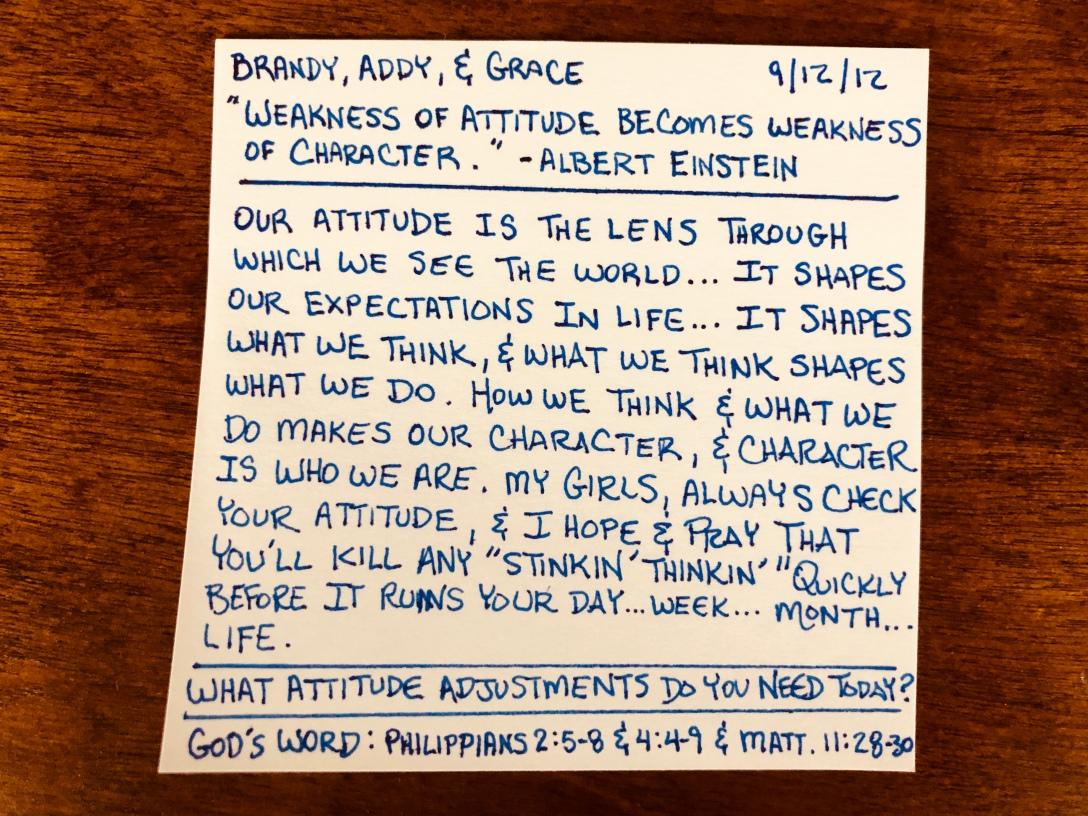 Weakness of Attitude Becomes Weakness of Character - Albert Einstein