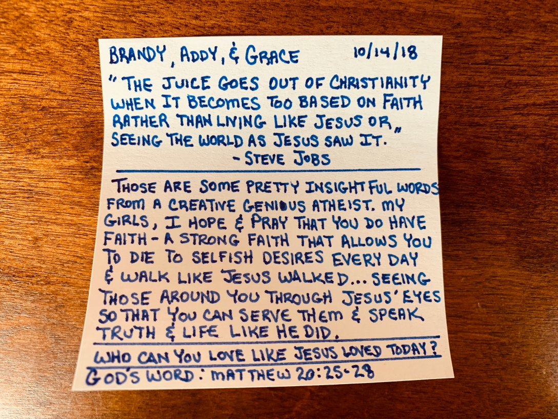 The juice goes out of Christianity when it becomes too based on Faith rather than living like Jesus or seeing the world as Jesus sees it - Steve Jobs